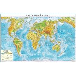 Harta fizica a lumii (fata)/Harta de contur (verso