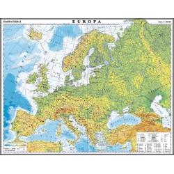 Europa. Harta fizica si politica (fata)/Harta de contur (verso)