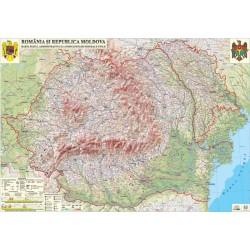 Romania si Republica Moldova. Harta fizica (fata)/Harta de contur (verso)