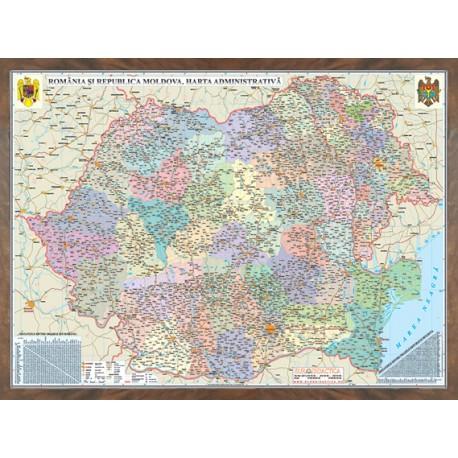 Romania si Republica Moldova. Harta administrativa 3D (1000 x700mm)