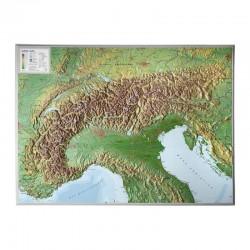 Georelief Harta magnetica Alpenbogen groß, 3D Reliefkarte