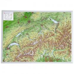 Georelief Harta magnetica Schweiz klein, 3D Reliefkarte