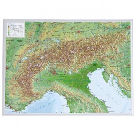 Georelief Harta in relief 3D a Alpilor, mica (in germana)