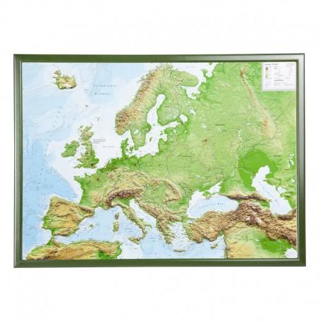 Georelief Harta magnetica Europa groß, 3D Reliefkarte mit Holzrahmen