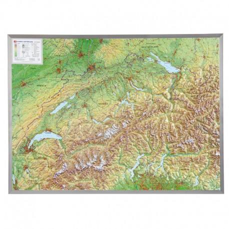 Georelief Harta magnetica Schweiz groß, 3D Reliefkarte mit Alu-Rahmen