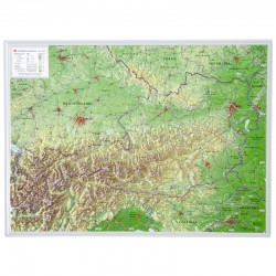 Georelief Harta magnetica Österreich klein, 3D Reliefkarte