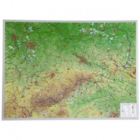 Georelief Harta in relief 3D Sachsen, mare (in germana)