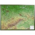 Georelief Harta in relief 3D Saxonia, mare, in cadru de lemn (in germana)