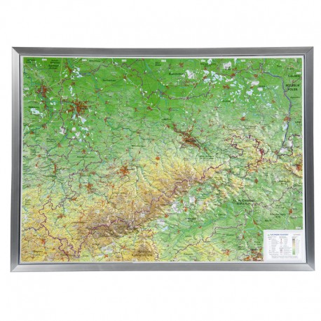 Georelief Harta magnetica Sachsen groß, 3D Reliefkarte mit Alu-Rahmen