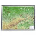 Georelief Harta in relief 3D Saxonia, mare, in cadru de aluminiu (in germana)