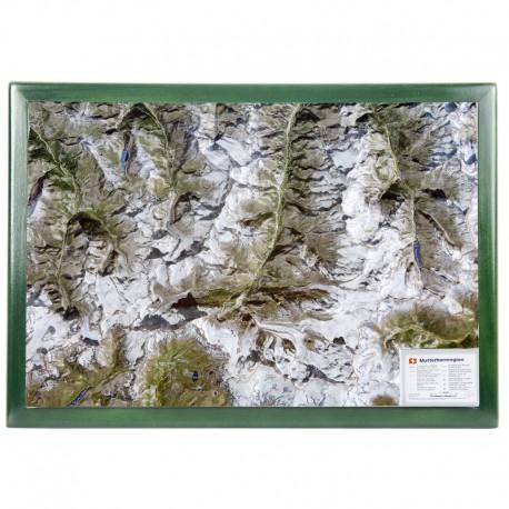 Georelief Harta iregiunii Matterhorn, in cadru de lemn (in germana)