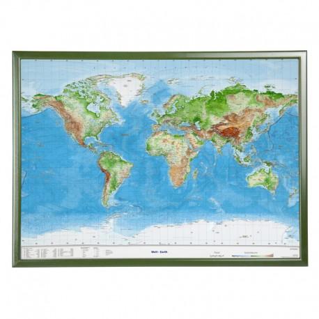 Georelief Harta in relief 3D a Lumii, mare, in cadru de lemn (in germana)