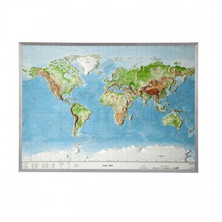 Georelief Harta lumii in relief, mare, 3D,in cadru de aluminiu