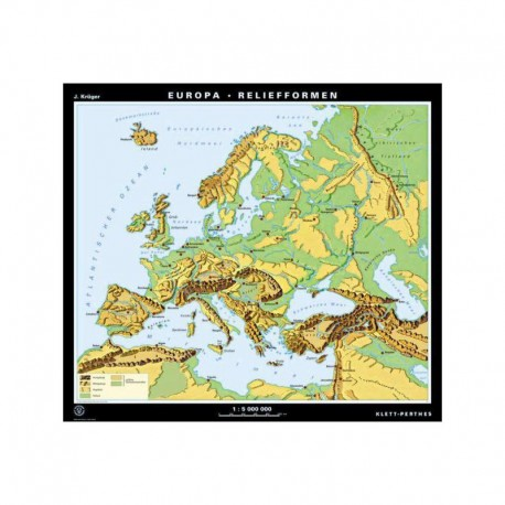 Klett-Perthes Verlag Harta continent Europa - formele de relief (P) faţă-verso