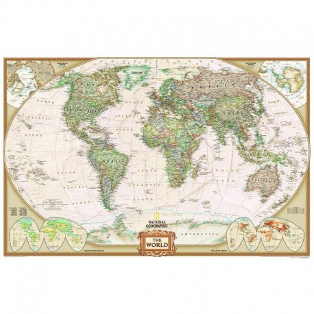Harta lumii National Geographic Planiglob design antic, mare laminată
