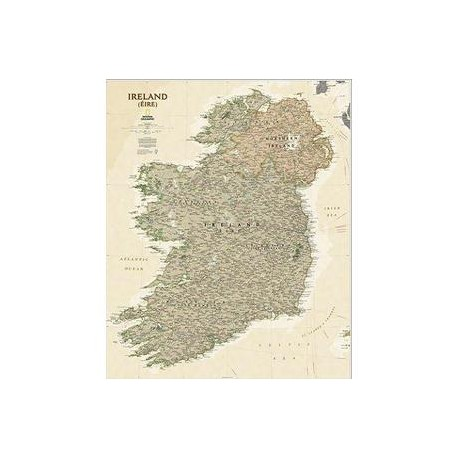Harta Hartă Irlanda stil antic laminată National Geographic