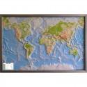 Harta lumii Weltkarte Reliefkarte Welt Silver line physisch Englisch GEO-Institut