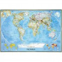 Harta politica a lumii clasica, laminata National Geographic
