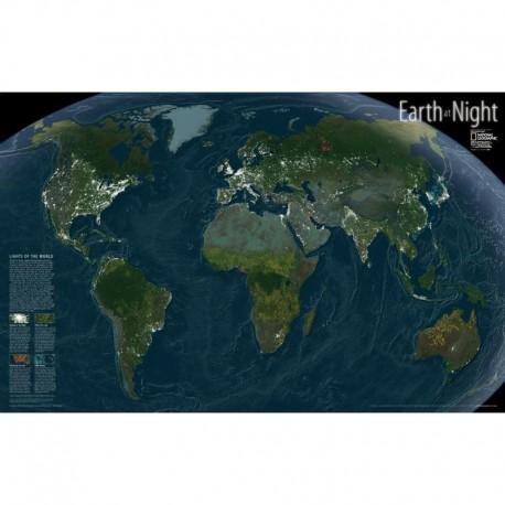 Harta lumii Pământul noaptea - hartă de perete laminată National Geographic