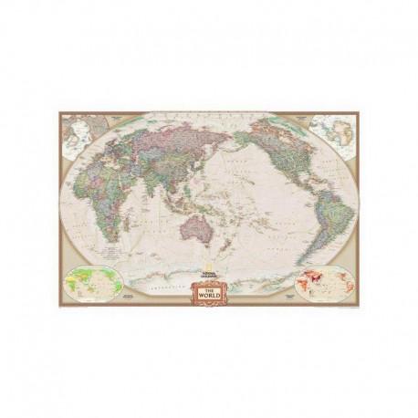 Harta lumii design antic centrată Oceanul Pacific, laminată National Geographic
