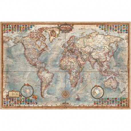 Harta lumii Modern World Antique Map, laminată RayWorld