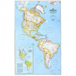 Harta politică America de Nord şi de Sud National Geographic
