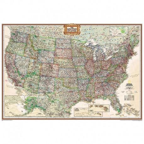Harta politică SUA design antic, laminată National Geographic