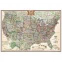 Harta politica SUA design antic, laminata National Geographic