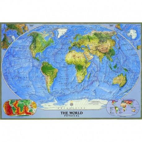 Harta fizică a lumii mare National Geographic