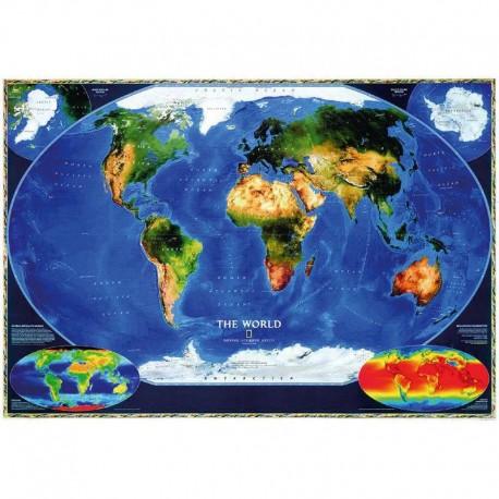 Harta satelitară a lumii laminată National Geographic