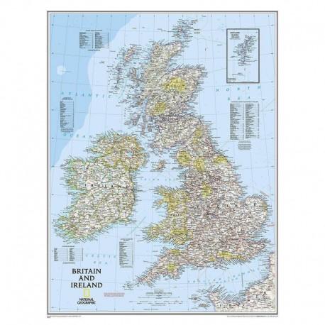 Harta regională Insulele Britanice National Geographic