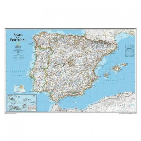 Harta Spania şi Portugalia National Geographic