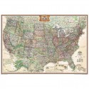 Harta politică SUA design antic, mare laminată National Geographic