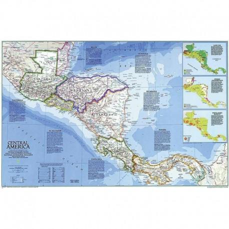 Harta regionala America Centrală National Geographic