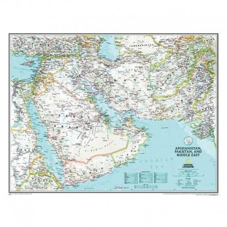 Harta regionala Afghanistan, Pakistan şi Orientul Mijlociu National Geographic