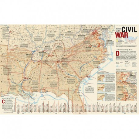 Harta războiul civil american, faţă - verso National Geographic