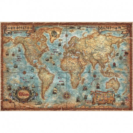 Harta lumii Modern World Antique Map RayWorld