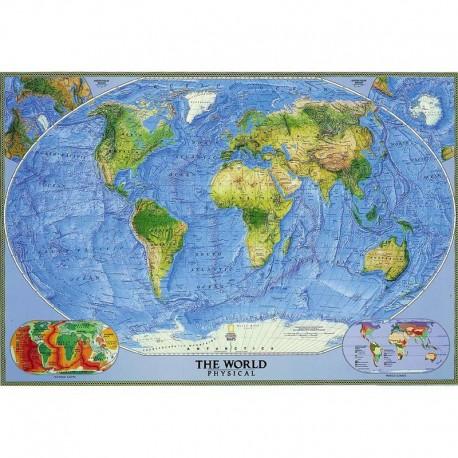 Harta fizică a lumii cu relieful submers National Geographic