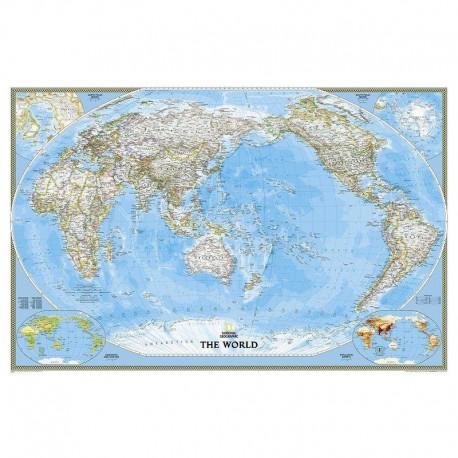 Harta politică a lumii centrată pe Pacific, laminată National Geographic