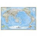 Harta politica a lumii centrata pe Pacific, laminata National Geographic