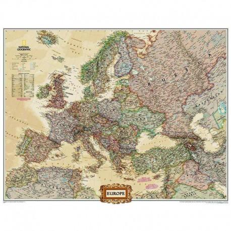 Harta politică a Europei, mare laminată National Geographic