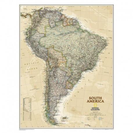 Hartă America de Sud design antic National Geographic