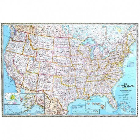 Harta politică SUA, laminată National Geographic