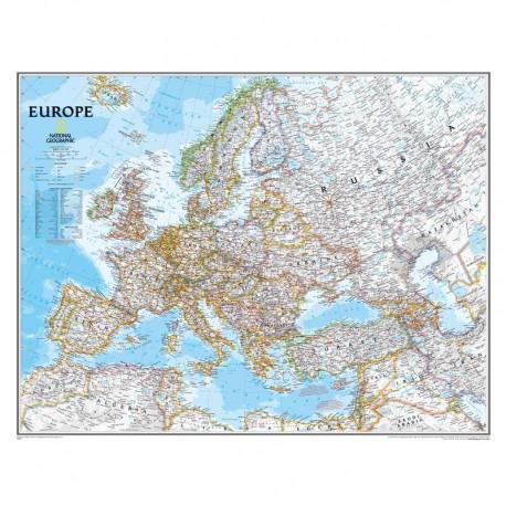 Harta continent Europa politică, laminată National Geographic
