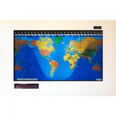 Geochron Harta orara a lumii Original Kilburg cu rama din furnir, finisare alb modern, rama culoare neagra
