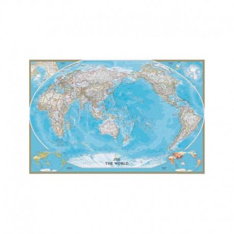 Harta lumii clasică, centrată pe Pacific, laminată National Geographic