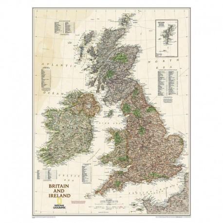 Hartă Insulele Britanice şi Irlanda design antic National Geographic