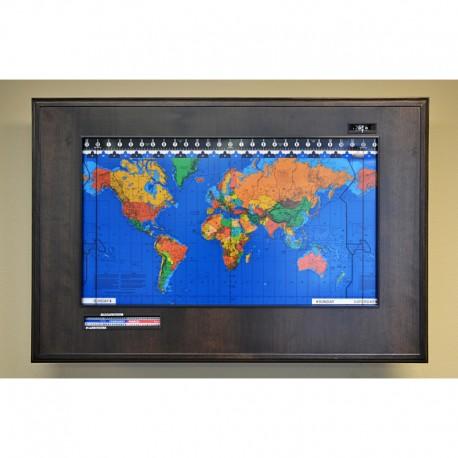 Geochron Harta orara a lumii cu rama din furnir, finisare espresso, rama culoare neagra