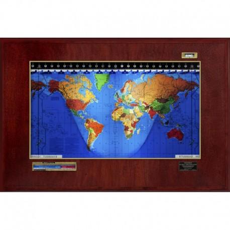 Geochron Boardroom Modell din lemn de mahon şi cadru auriu