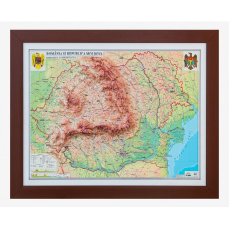Romania si Rep. Moldova Harta fizica si administrativa 3D( 604X470 mm)
